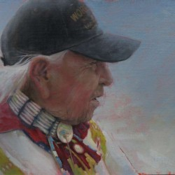 Chief Dave Bald Eagle 12″ X 16″ oil on Birch